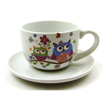 Teáscsésze + alj - baglyos 1