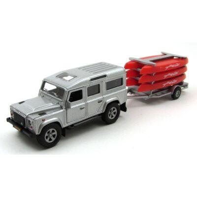 Land Rover Defender kenuszállító utánfutóval fémautó 2